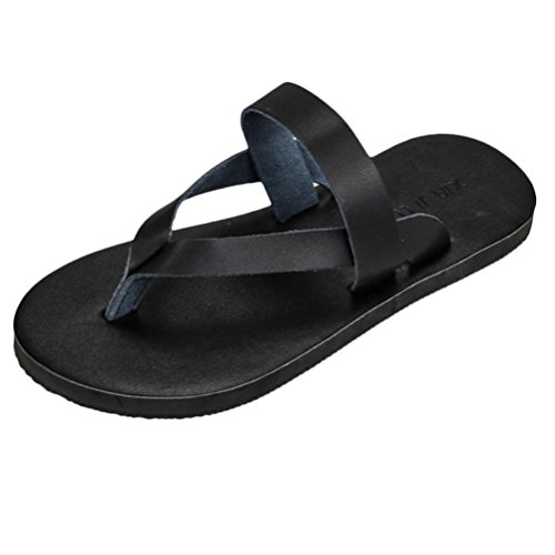 Zhuhaitf Haute qualité Comfortable Mens Flat Flip Flop Summer Beach Sandals Non-slip Shoe Black