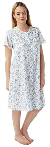 - 41D0JRN9mML - Womens Poly Cotton Short Sleeve Button Through Nightie Nightdress MN12