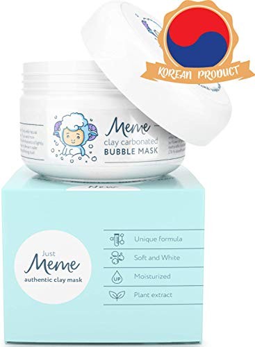 MeMe Carbonated Bubble Clay Mask - Korean Face Skin care - Activated Charcoal & Bentonite prevent acne & detox - Organic Jojoba Oil, Aloe Vera & Witch Hazel – Blackhead Remover - Deep Cleansing