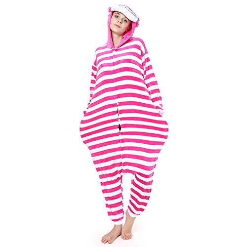 Love Home Cartoon Siamese Pyjamas Unisex Erwachsene Tier Cheshire Cat Sleepwear mit Kapuze Cosplay Kostüm Anziehende Pyjama Erotische Kleidung,XL