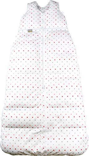 Climarelle Daunenschlafsack, längenverstellbar, Alterskl. ca 12-24 Monate, Rote-Sterne, Natur, 110 cm