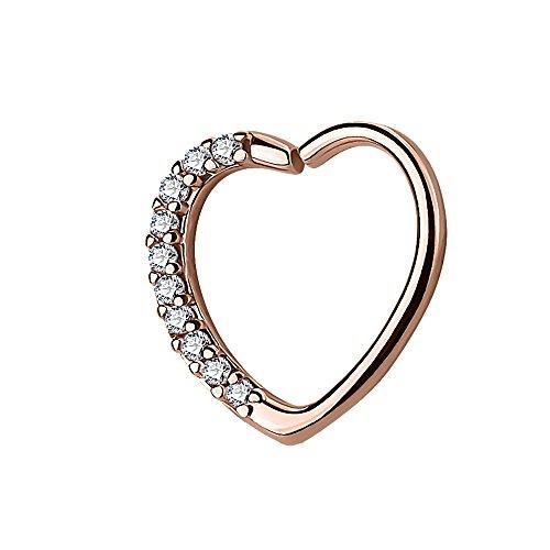 Piercingfaktor Continuous Piercing Ring Herz mit Kristall Strass Herzchen für Tragus Helix Ohr Cartilage Knorpel Ohrpiercing Rosegold