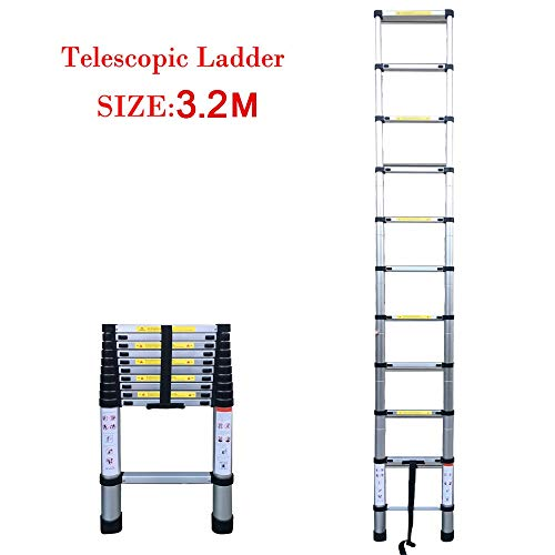 RMJAI Hocker Leiter Aluminiumlegierungsleiter-Verlängerungsleitern teleskopisch ausziehbares 150kg Bärengewicht (3.2m) Klappstufen