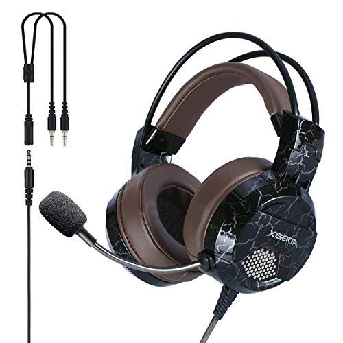 Xpert PS4 mit Mikrofon Mute, Computer Kopfhörer, Surround Sound Draht über Ohr Inline-Lautstärkeregler Play Pause Licht für Laptop, Mac, Call Center, Video Konferenz (E1D 3,5mm)