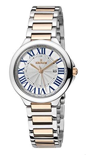 KRONOS - Ladies White 998.9.23- Reloj de señora de Cuarzo, Brazalete de Acero Bicolor, Color Esfera...
