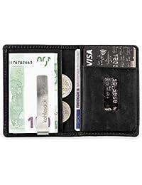 kohlesack® | Kleine Geldbörse, Geldbeutel, Portemonnaie mit Geldklammer für 5-6 (+2) Karten aus echtem Leder | Mit RFID Blocker | schwarz