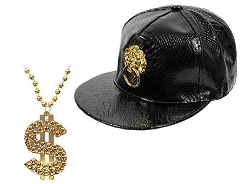 Brille Mit Für Jungs Kostüm - Alsino Hip Hop Set Rapper Kostüm Outfit (Kv-104) - goldene Dollar Bling Bling Kette mit Snapback Löwe Schwarz