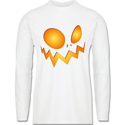 Halloween - Kürbisgesicht groß Pumpkin - Longsleeve / langärmeliges T-Shirt für Herren Weiß