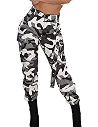 Yvelands Moda Mujer Pantalones de Carga Elegante Camo Pantalones Casuales  Ejército Militar Combate Pantalones de Camuflaje 43343f646f9
