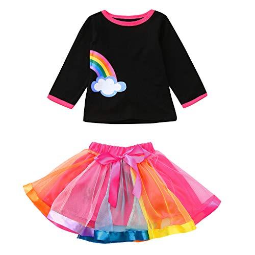 y Kind Mädchen Regenbogen Cute Tops Tutu Rock Schwester Outfits Freizeitkleidung Set Multicolor Sommer bauchfrei weiß ärmellos ()