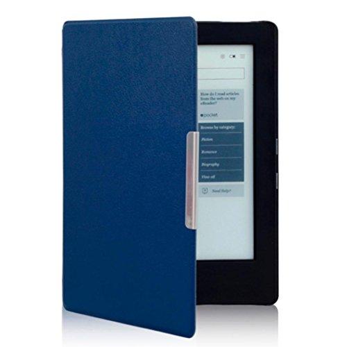 Kindle Schutzhülle, hansee® Magnetische Auto Sleep Leder Schutzhülle für New Kobo Aura H2O eReader + HD Display Schutz Folie + Touch Pen blau