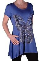 EyeCatch Plus - Butterfly Motif Long Womens Short Sleeve Loose Stretch Ladies Top Sizes 14 - 28