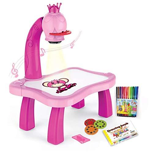 Sanzhileg Tavolo da Disegno per Bambini con proiettore Intelligente Tavolo da Disegno per Bambini con Tavolo da Disegno Leggero con Strumenti Musicali educativi per Bambini - Rosa