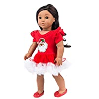 Amyline Chirstmas Toy Clothes Lace Tutu American Girl Doll Clothes Santa Stitching Dress for Christmas Thanksgiving Gift