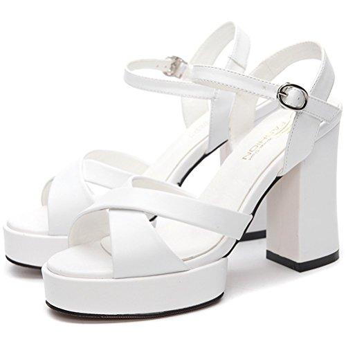 Femme Bout Ouvert Plateau Sandales d'été moderne Bloc Talon Talons hauts Épaisseur sol Chaussure tendance Blanc - Blanc