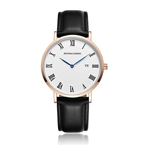 JOESON LEADERS Damen Uhr Analog Quarz mit Leder Armband Datum der Auto (Damen-uhr Sekundenzeiger Mit)