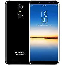 OUKITEL C8 4G - 5.5 pollici (rapporto 18: 9 visione completa) smartphone Android 7.0 4G, batteria 3000mAh, quad core da 1.3GHz MTK6737 2GB +16GB, Fotocamera da 5MP + 13MP, impronte digitali - nera
