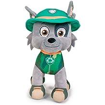 Paw Patrol Soft Toys, Licencias oficiales originales 7 diferentes personajes disponibles (Rocky: perro gris con gorra verde)