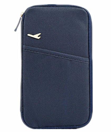 linshe Unisex da viaggio multifunzione Portafoglio passaporto/biglietti/carta di credito tasca documento Borsa 600d Oxford tessuto Custodia protettiva da viaggio essentials pacchetto donne uomini paio Navy Blue