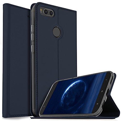 """Funda Xiaomi MI A1 5.5"""", iBetter Slim Flip Cover Carcasa Cubierta de cuero PU Multi-Angle Shockproof Silicio Protectora de Carcasa con Soporte Plegable para Xiaomi MI A1 5.5"""" Smartphone (Slim Book Series - Azul)"""