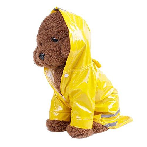 Haustierhund Hooded Regenmantel Haustier Wasserdicht Welpe Hund Jacke Mantel von Sannysis (Gelb, S)