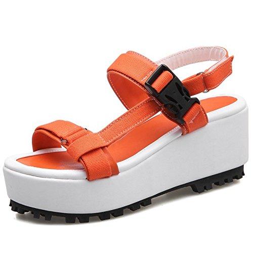 RizaBina Femmes Mode Bout Ouvert Sandales Compensees Plateforme Slingback Ete Chaussures 785 Orange