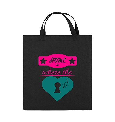 Comedy Bags - Home is where the key is! - HERZ - Jutebeutel - kurze Henkel - 38x42cm - Farbe: Schwarz / Weiss-Neongrün Schwarz / Pink-Türkis
