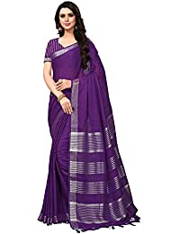 Applecreation Women'S Linen Silk Saree With Blouse Piece (Purple_Free Size )