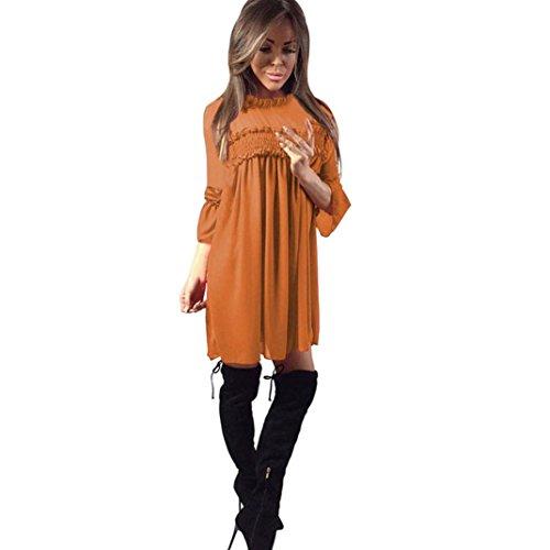 Vestito donna, Rcool Vestito sexy pieghettato da mini abito da sera da donna Marrone