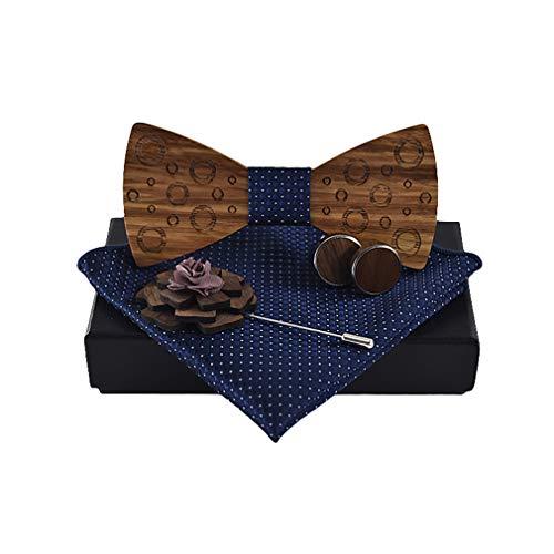 Jacquard-schnalle (kunfang Fliegen für Herren, Klassische Handgemachte Männer Hölzerne Fliege + Taschentuch + 1 Paar Manschettenknöpfe Schnalle + Blume hölzerne Brosche Set)
