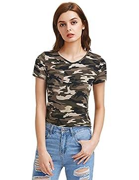 ROMWE Camiseta con Camuflaje Para Mujer Manga Corta