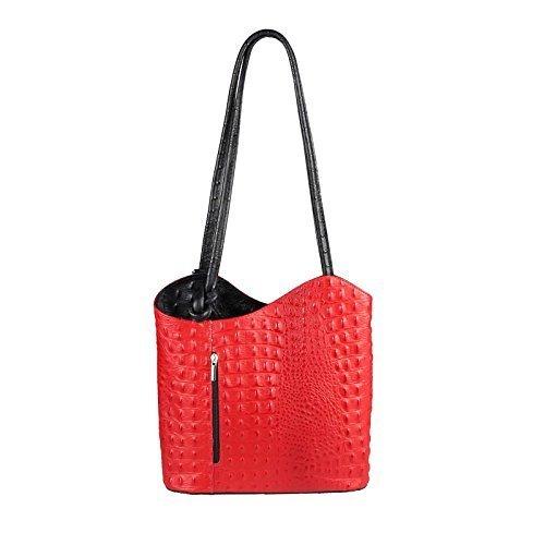 OBC Made in Italy Ledertasche Damentasche 2in1 Handtasche als Rucksack oder Umhängetasche/Schultertasche Tablet/Ipad mini bis ca. 10-12 Zoll 27x29x8 cm (BxHxT) (Dunkelblau (Lackleder)) Rot-Schwarz (Kroko)