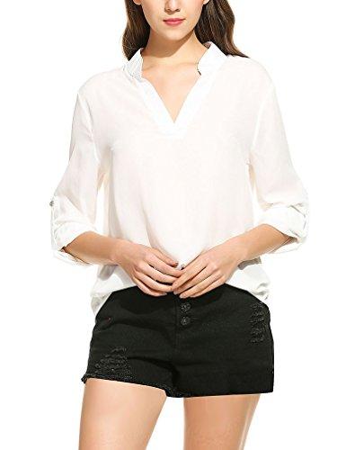 OURS Damen Sommer V-Ausschnitt Lose Langarmshirt Chiffon Langarm Bluse Übergröße (XXL, Weiß)