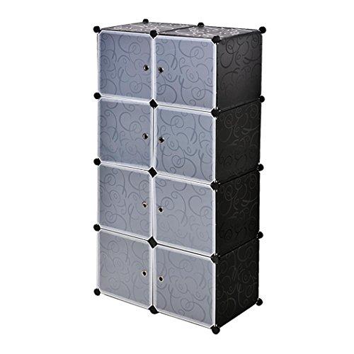 Cooshional Armoire Penderie Modulable 8 Cubes DIY en Plastique Résine avec Porte Étagère Rangement Meuble Amovible Garde-Robe Sdb