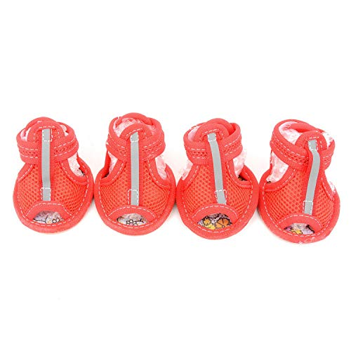 ZUNEA Zapatos de Perro pequeños para Verano Transpirable Malla Sandalias para Perro Antideslizante Suela de Goma Botas de Mascotas con Velcro Ajustable Lindo Chihuahua Zapatos para Caminar