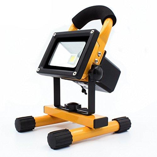 LEDemain 10W Wiederaufladbare Flurbeleuchtung / Camping Arbeitslampe / Scheinwerfer / Flutlichtstrahler. LED strahler mit 2200mA Lithium Batterie, tragbare IP65 Wasserdicht mit Stecker