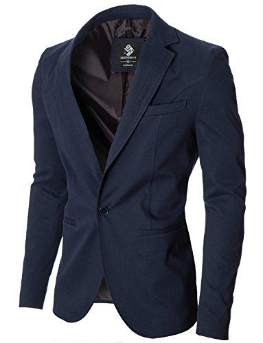 MODERNO - Slim Fit Herren Sakko Blazer Jacke (MOD14519B) Dunkelblau