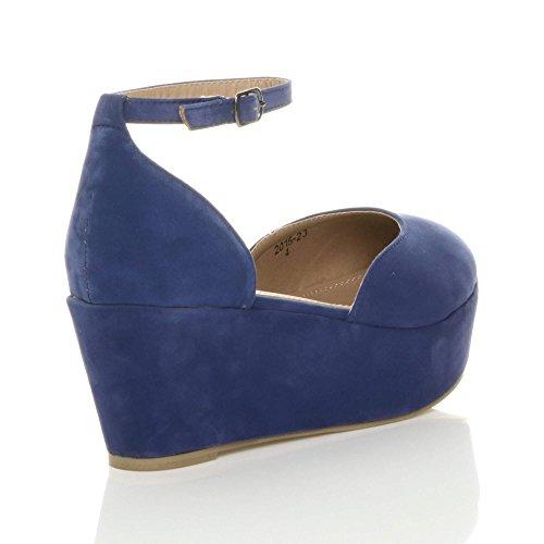 Donna tacco zeppa medio flatform piattaforma décolleté sandali scarpe taglia Scamosciate blu