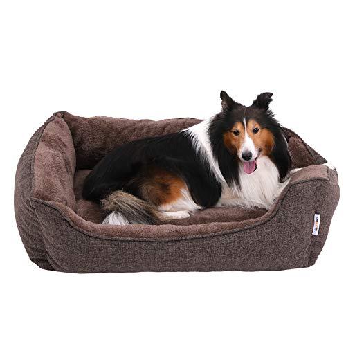 FEANDREA Cama para Perros, Sofá para Perros, Cesta para Perro Desmontable y Lavable a máquina, Marrón, 90 x 75 x 25 cm, PGW11CC