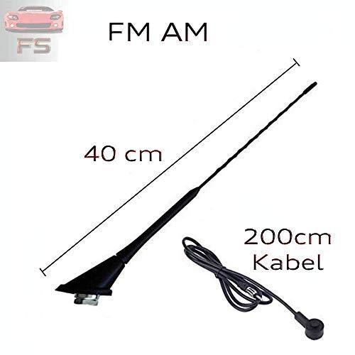 40cm mit Kabel Autoantenne Dachantenne Kurz DIN für Empfang von FM AM DAB GPS GSM Antenne inkl. 3 Gewindeadapter M4 M5 M6 für Logan MCV II