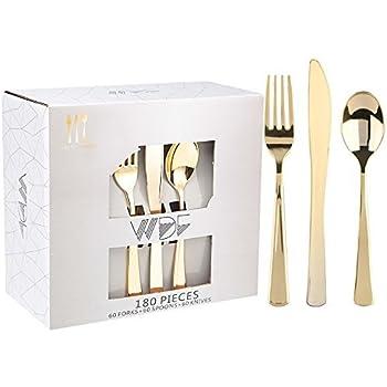 b4dc6df9e56 Lot de 180 couverts plastiques jetables de couleur dorée (60 fourchettes