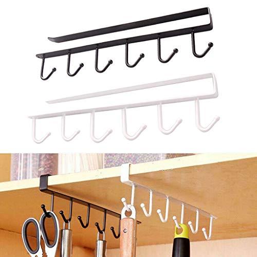 Dkings 2PCS Küche Lagerung Rack Schränke 6 Hook Schränke neuen Bad Haken Mantel Mantel Haken Haken Haken Haken Haken Küche schwarz & Weiß