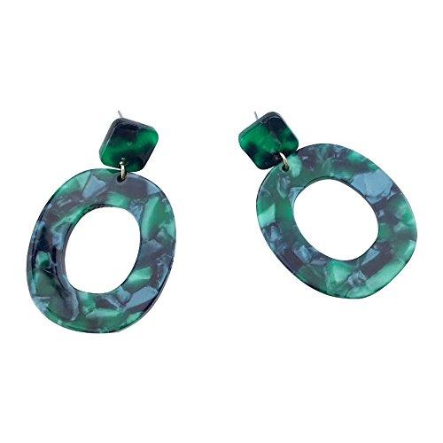 SODIAL 2 Paar / Menge Modeschmuck Essigsaeure Acryl Geometrie quadratischen Oval Ohrring fuer Frauen -