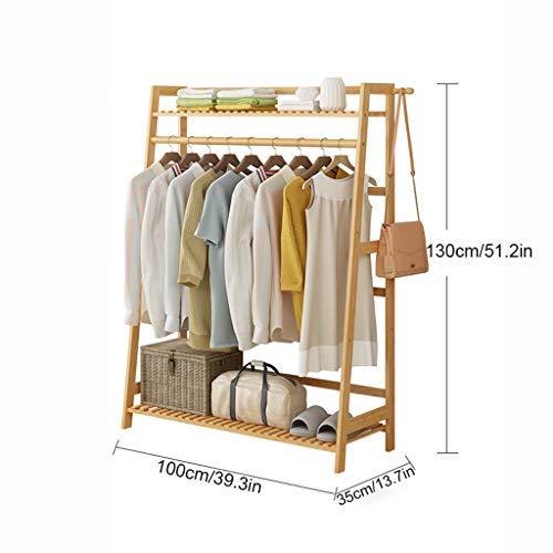 Schuh-speicher-organisator (Garment Clothing Rack Bambus Holz hängende Kleiderständer und 2-Tier-Schuh-Kleidung-Speicher-Organisator-Regale (größe : L))