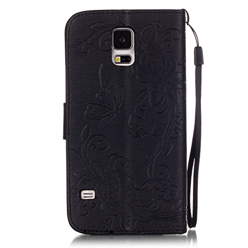 iPhone 5S Hülle Case,iPhone SE Hülle Case,Gift_Source [Karten Slots] [2 Trageschlaufe] [Kickstand] Blume Schmetterling Bling Diamant Entwurf PU LederHülle Case Tasche Hüllen Schutzhülle Scratch Magnet E01-01-Black