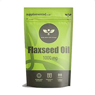 Flaxseed Oil Capsules 1000mg 180 Softgels - High Strength Cold Pressed from Supplemented
