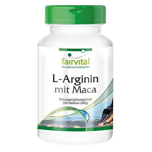 L-Arginin mit Maca – für 2 Monate – HOCHDOSIERT – 300 Tabletten – mit Beta-Glucan, OPC und Zink