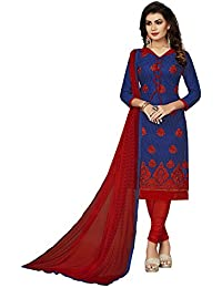 Taboody Empire New Lunching Blue & Red Pure Cotton Embroidered Straight Salwar S For Girls And Women