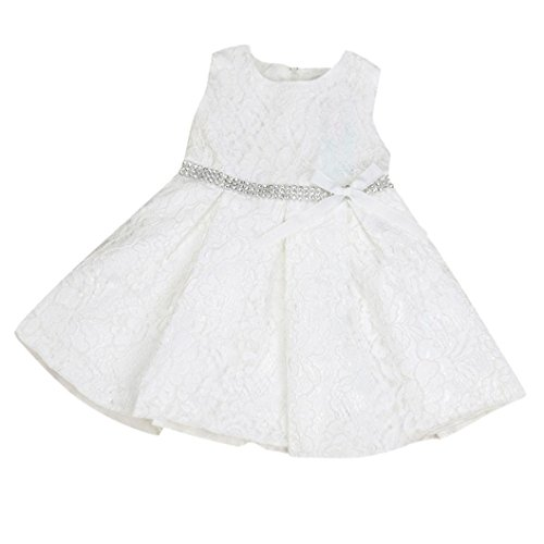 Belle Wünsche Kostüm 3 - Mädchen Prinzessin Kleid, Dasongff Baby Mädchen Spitzen Blumenmädchenkleid Kinder Festlich Hochzeits Kleid Prinzessin Brautjungfern Partykleider Festzug (100, Weiß)