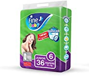 Fine Baby Double Lock, Size 6, Junior, 16+ kg, Jumbo Pack, 36 Diapers